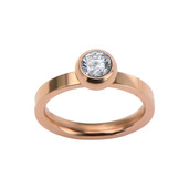Rose Gold IP with 1 Gem Ring