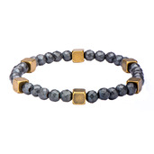 Grey Hematite with Antique Steel Brass Beads Bracelet