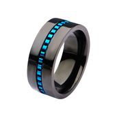 Black IP with Blue IP Interconnected Link Polished Ring