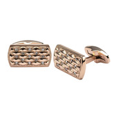 Stainless Steel Rose Gold IP with Clear CZ Stone Cuff Links