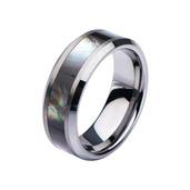 Steel Seashell Inlayed Polished Ring