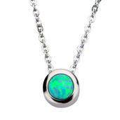 Green Synthetic Opal Pendant with Chain