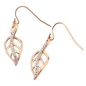 Rose Gold IP Crystal Leaf Hook Dangle Earrings