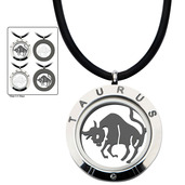 Reversible 4-Way Black IP & Steel Taurus Zodiac Pendant
