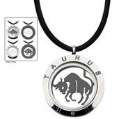 Reversible 4-Way Black IP & Steel Taurus Zodiac Pendant