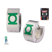 Enamel Filled Green Lantern Logo Huggie Earrings