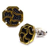 Steel & IP Gold w/ Black Stingray Cufflinks