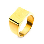 Gold IP & Engraveable Polished Ring