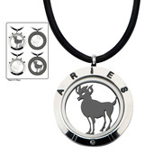 Reversible 4-Way Black IP & Steel Aries Zodiac Pendant