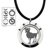Reversible 4-Way Black IP & Steel Aries Zodiac Pendant