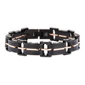 Solid Carbon Graphite and Rose Gold IP Link Bracelet
