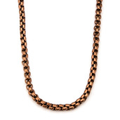 Rose Gold IP Round Box Chain Necklace