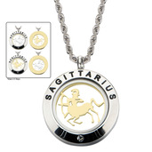 Reversible 4-Way Gold IP & Steel Sagittarius Zodiac Pendant