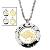 Reversible 4-Way Gold IP & Steel Taurus Zodiac Pendant