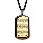 Deep etched Lord's Prayer on the surface and CNC Black CZ Gem Dog Tag Pendant