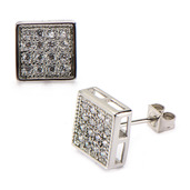 Square Hip Hop Studs Earrings with Clear CZ Stone