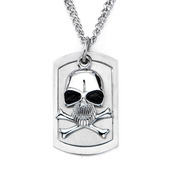 Men's Skull and Crossbones Dog Tag Pendant with Chain