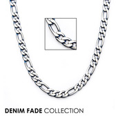 Blue IP Figaro Chain Necklace with Lobster Claw Clasp