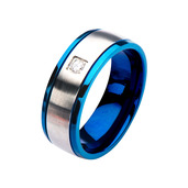 Steel and Blue IP with Clear CZ Polished Ring