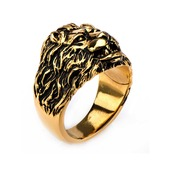 Stainless Steel Gold IP Lion Crest Ring