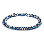 Blue IP Curb Chain Bracelet with Lobster Claw Clasp