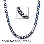 Blue IP Rounded Franco Chain Necklace with Lobster Claw Clasp