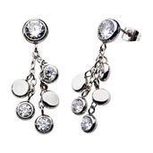Bezel Set CZ Dangle Earrings