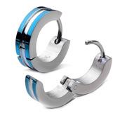 Stainless Steel Blue IP Huggies Earrings
