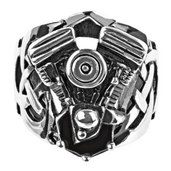 Black Oxidized Ring with Large Engine Look