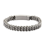 Stainless Steel Triple Curb Chain Bracelet