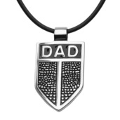 DAD Shield Pendant with Black Leather Cord Chain