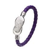 Purple Italian Leather Bracelet