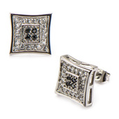 Square Kite Hip Hop Studs Earrings with Clear & Black CZ Stone