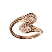 Rose Gold IP Gem Open Teardrop Ring