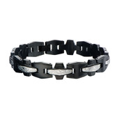 Hollis Bahringer Men's Steel Grooves and Crests Link Bracelets