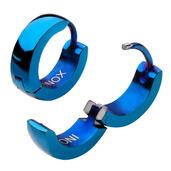 Stainless Steel Blue IP Plain Huggies Earrings
