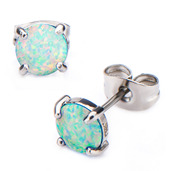 Claw Set White Synthetic Opal Stud Earrings