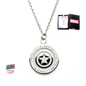 Captain America Shield Logo and Clear CZ Pendant with Chain