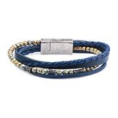 Multi Layered Blue Leather and Blue Hematite Beads Bracelet