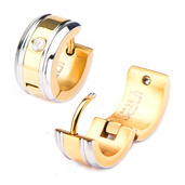 Stainless Steel Gold IP with 1 Clear CZ Gem Huggies Earrings