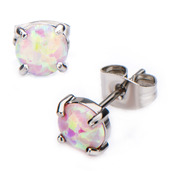 Claw Set Pink Synthetic Opal Stud Earrings