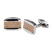 Stainless Steel with Two Tone Weave Cuff Links
