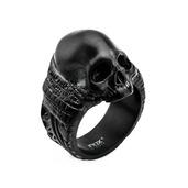 Stainless Steel Black IP Matte Finish Skull Ring