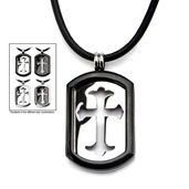 4-Way Black IP & Steel Cross Dog Tag Pendant