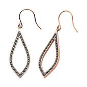 Rose Gold IP with Black CZ Teardrop Hook Dangle Earrings