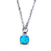 Claw Set Blue Synthetic Opal Pendant with Chain