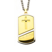 Cross Army Dog Tag Pendant with Wheat Chain