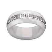 Steel Diamond Cut White Ceramic with CZ Ring