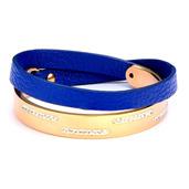 Blue Leather & IP Rose Gold White Crystal Bracelet