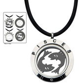 Reversible 4-Way Black IP & Steel Pisces Zodiac Pendant